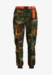 Missguided - CONTRAST CAMO PANEL TROUSER - Pantaloni cargo - khaki - 3