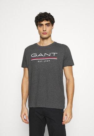 T-shirt med print - antracit melange