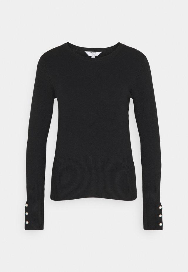 PEARL CUFF CREW NECK JUMPER - Stickad tröja - black