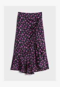 Bershka - MIT BLUMENPRINT - A-line skirt - black - 4