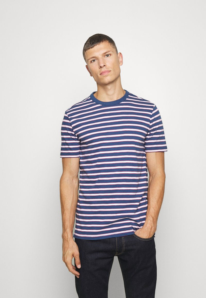 GAP - SLUB STRIPE - T-shirt z nadrukiem - blue/white