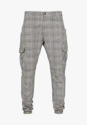 GLENCHECK  - Pantaloni cargo - white/black