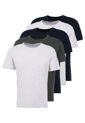 5 PACK - T-shirt basique - dark blue/grey/khaki
