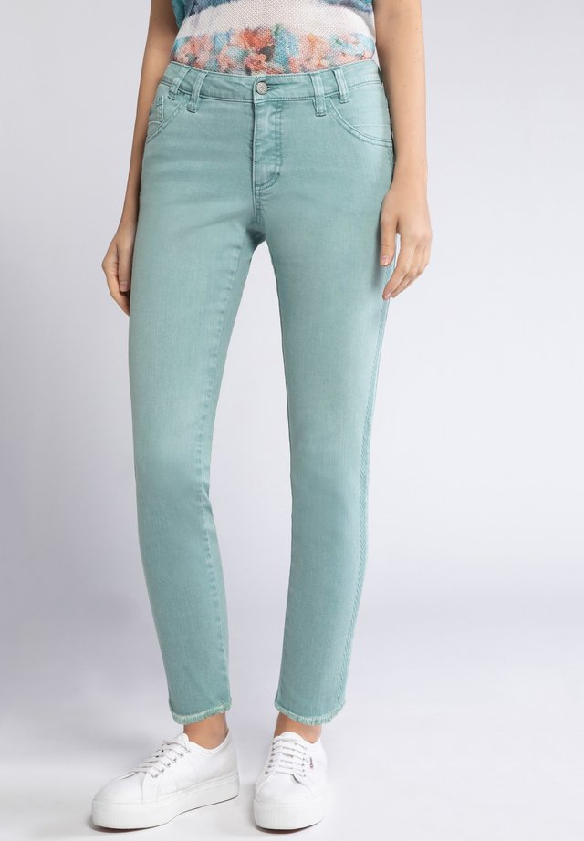 GINA LAURA DAMEN JULIA, STICKSTREIFEN, FRANSENSAUM, SCHMALE - Slim fit jeans - helles smaragd