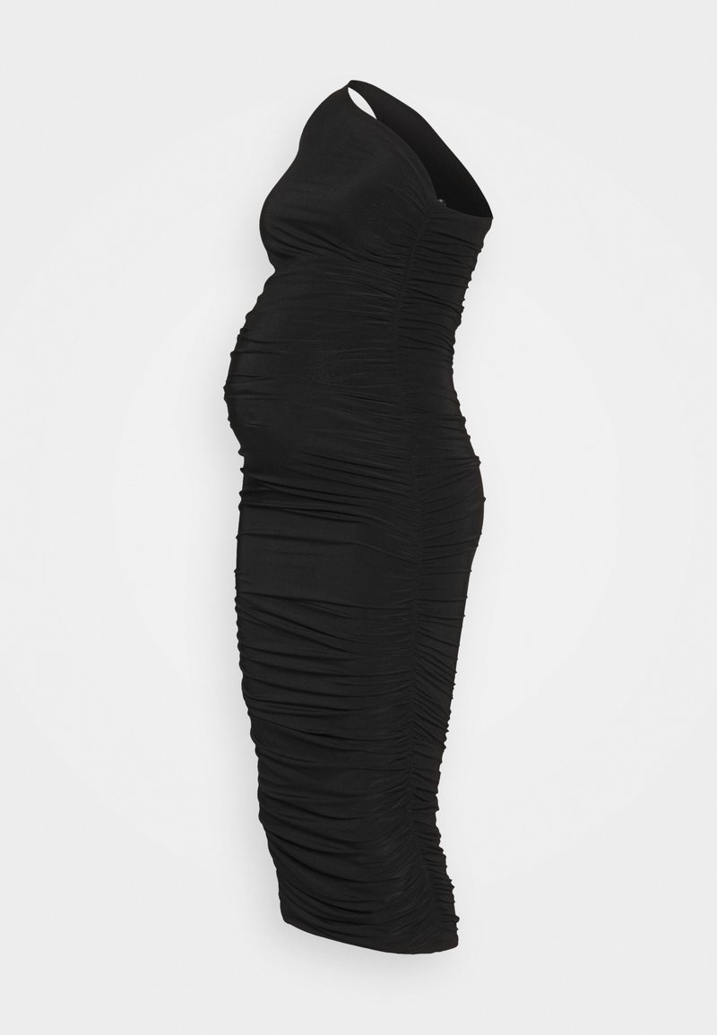 Missguided Maternity - SLINKY ONE SHOULDER RUCHED MIDI DRESS - Jersey dress - black