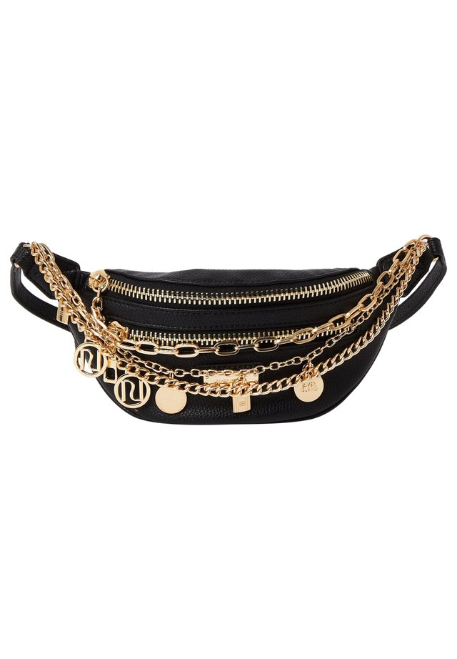 BLACK LAYERED CHAIN AND CHARM BUMBAG - Vyölaukku - black