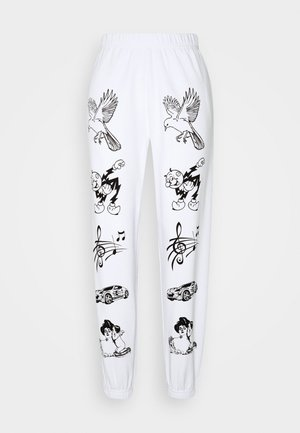 CLASSIC CARTOON - Tracksuit bottoms - white