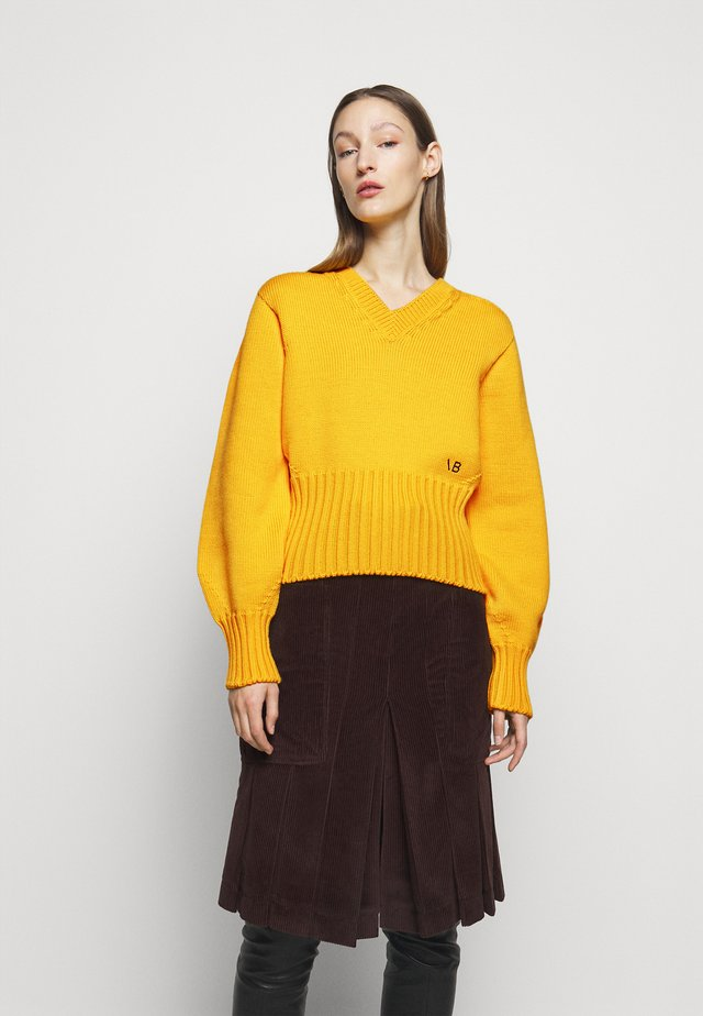 SEAMLESS V NECK JUMPER - Jersey de punto - yellow