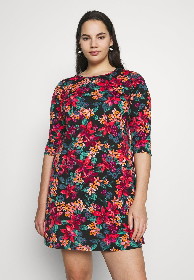 CAPSULE by Simply Be - DIPPED HEM SWING DRESS - Jersey dress - pink floral