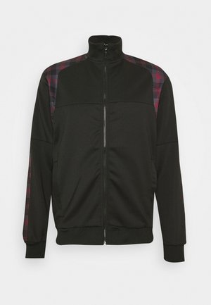 Zip-up hoodie - black/ red