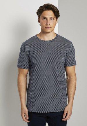 T-shirt print - navy jacquard block stripe