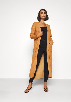 LONGLINE PATCH POCKET  - Cardigan - camel