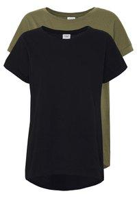JDY - JDYPASTEL LIFE 2 PACK - Print T-shirt - black/martini olive - 0