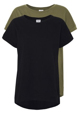 JDYPASTEL LIFE 2 PACK - Basic T-shirt - black/martini olive