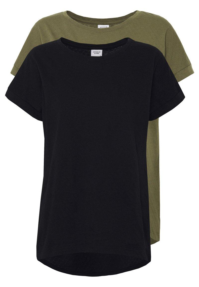 JDY - JDYPASTEL LIFE 2 PACK - Print T-shirt - black/martini olive