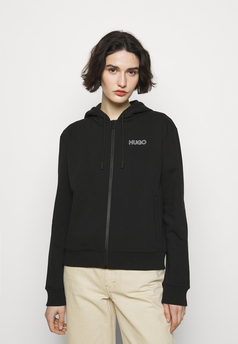 HUGO - DAKOTO - Zip-up hoodie - black