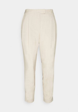 PANTS PLEATED - Trousers - cargo beige melange