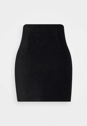 CORDUROY HIGH WAISTED MINI BODYCON SKIRT - Minirock - black