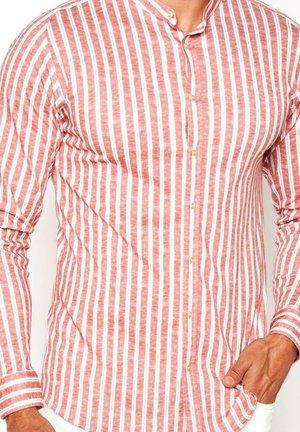 Shirt - red  linen stripe