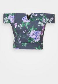 WAL G. - LANCE FLORAL CROP - Print T-shirt - purple - 3