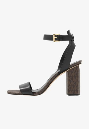 PETRA - Sandali con tacco - black/brown