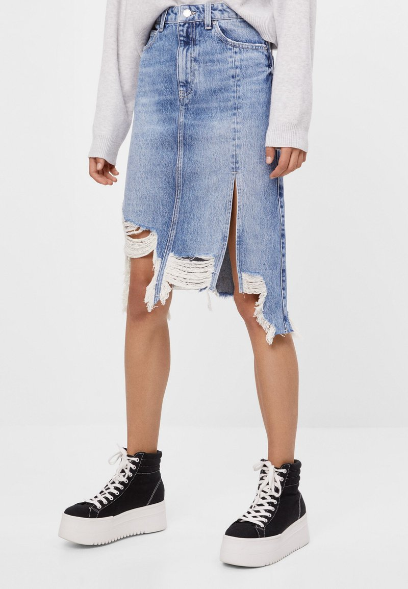 Bershka - A-line skirt - blue denim