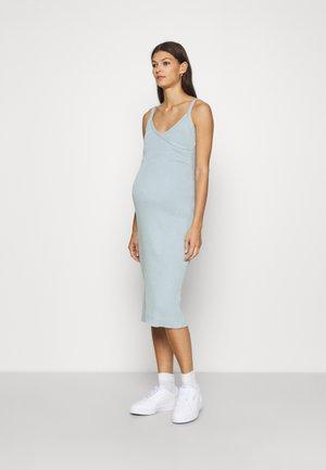 SLEEVELESS FIXED WRAP FRONT MIDI DRESS - Jumper dress - light blue