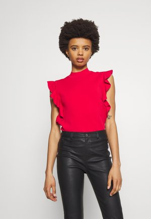 COLORBLOCK RUFFLE CROP - T-shirt med print - red
