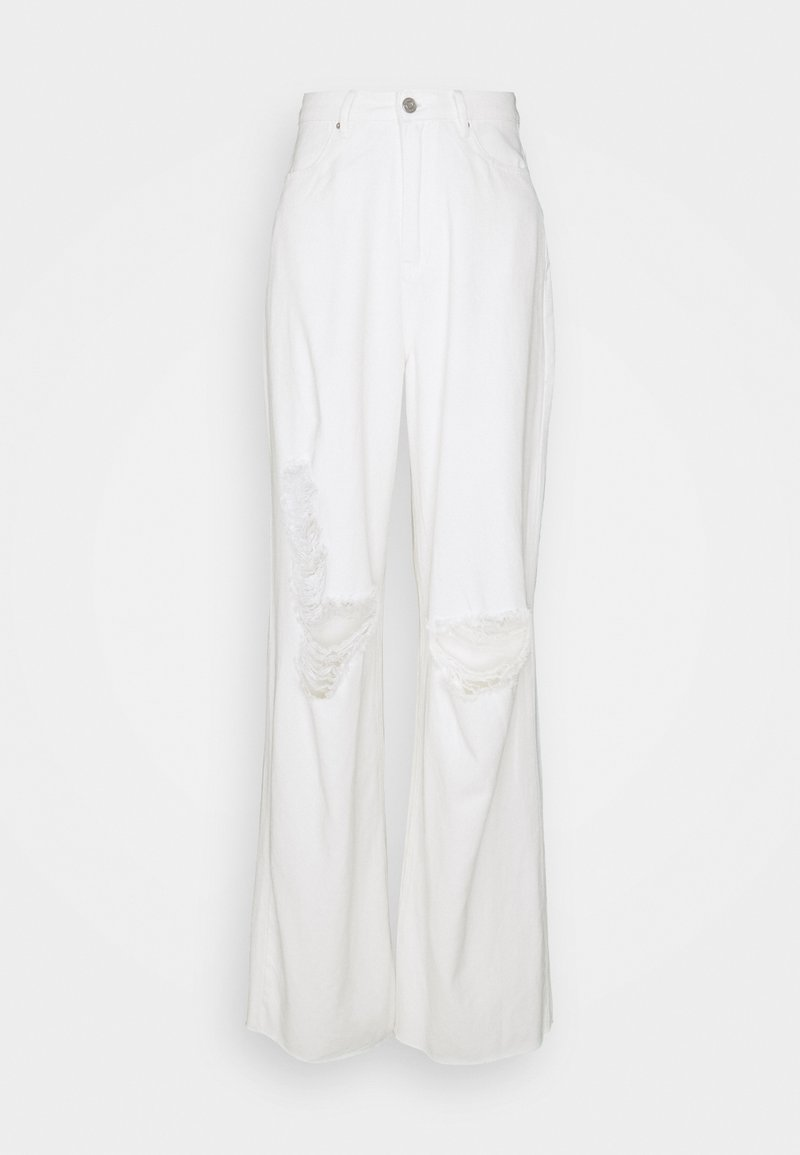 Missguided Tall - RIPPED RAW HEM BAGGY BOYFRIEND - Jeans relaxed fit - white