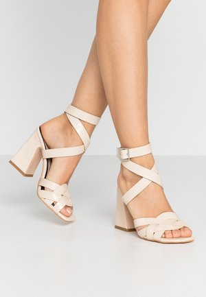 SYDNEY CROC MULTISTRAP FLARED - High heeled sandals - offwhite