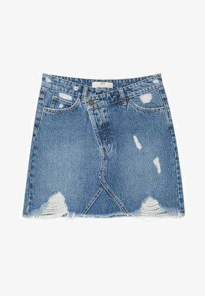 MIT ASYMMETRISCHEM BUND  - Spódnica mini - blue