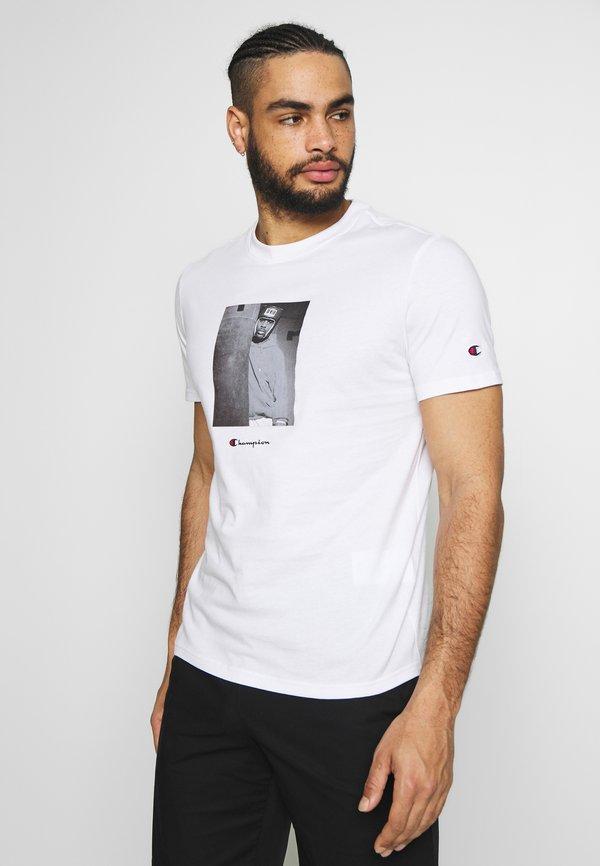 Champion Rochester ROCHESTER THEME CREWNECK - T-shirt z nadrukiem - white/biały Odzież Męska UOUM