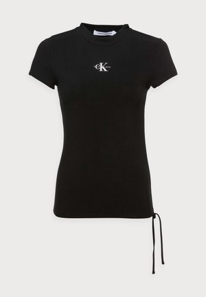 SIDE DRAWSTRINGS RIB TEE - Print T-shirt - black