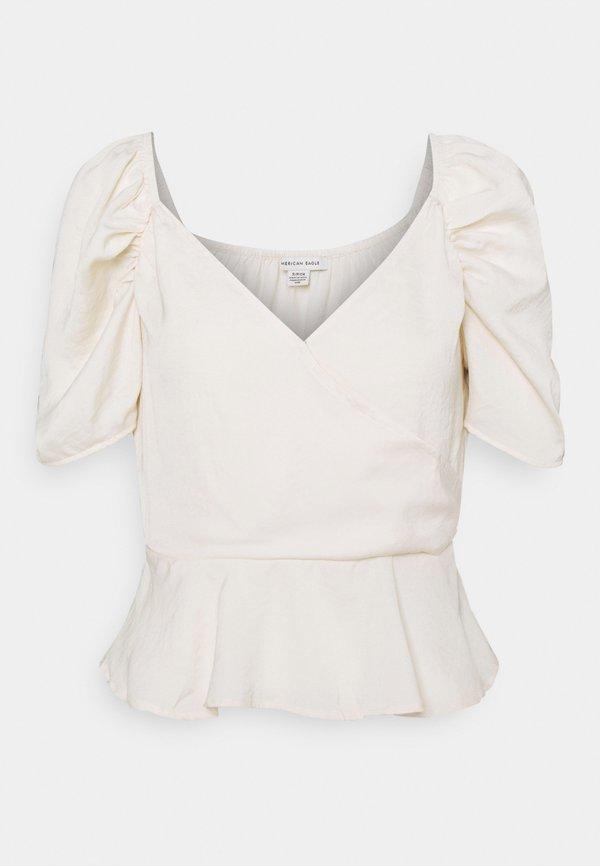 American Eagle PUFF SLEEVE SURPLICE - T-shirt z nadrukiem - cream/mleczny UKHK