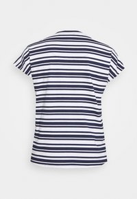 CAPSULE by Simply Be - CURVED HEM TEE WITH BUTTON DETAIL - T-shirts med print - black/ivory stripe - 7