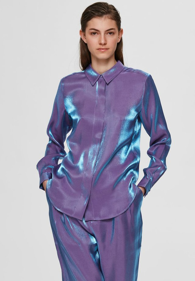 Button-down blouse - crushed grape