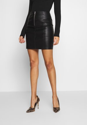 ONLSKY FAUX - Mini skirt - black