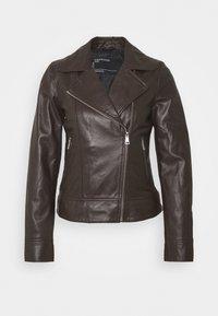 MARJORY - Kožená bunda - dark brown