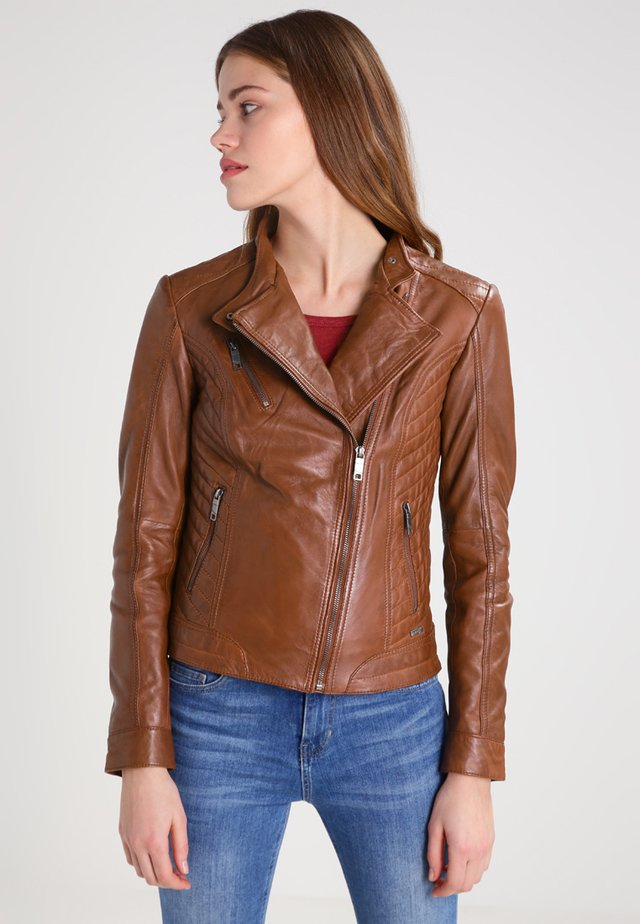 SALLY - Leather jacket - cognac