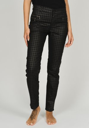 RöHREN MALU ZIP MIT KARO-MUSTER - Trousers - schwarz