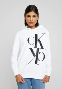Calvin Klein Jeans - MIRRORED MONOGRAM HOODIE - Hoodie - bright white - 0