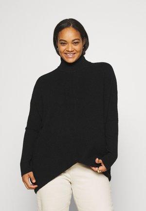 HIGH NECK JUMPER - Stickad tröja - black