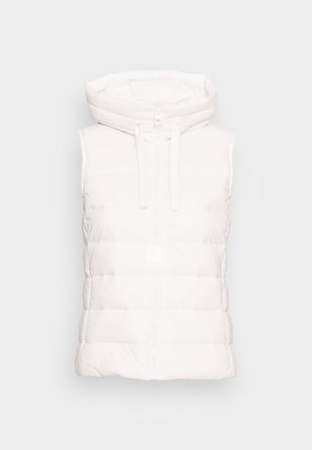 RECYCLED VEST FIX HOOD STAND UP COLL - Vesta - white sand