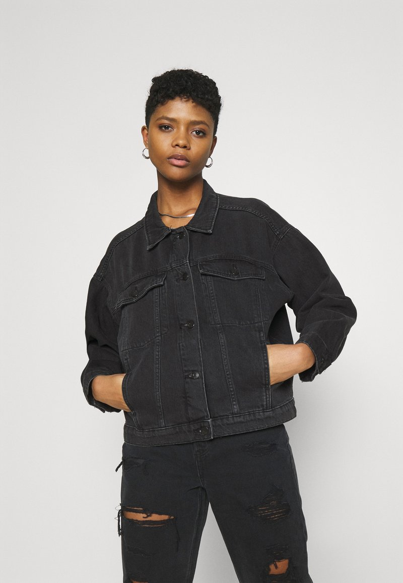 Monki - BONNIE JACKET - Denim jacket - black dark