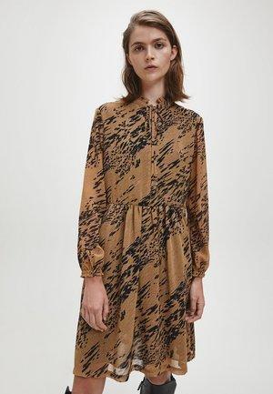 TIE SKATER DRESS - Day dress - smokey leopard / country side khaki