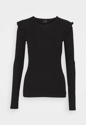 VMAVA FRILLS - Long sleeved top - black
