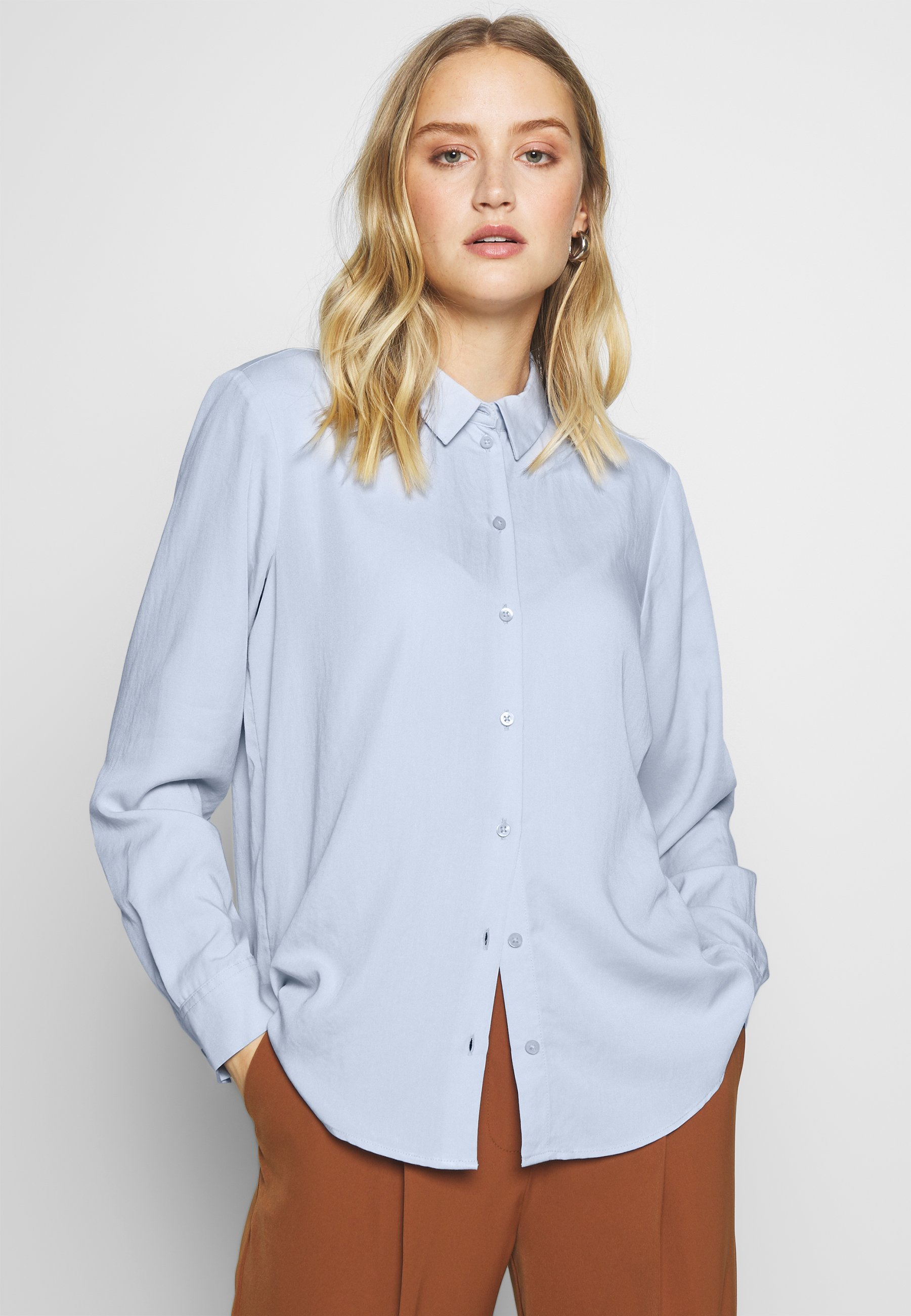 Women BLOUSE - Button-down blouse - soft charming blue