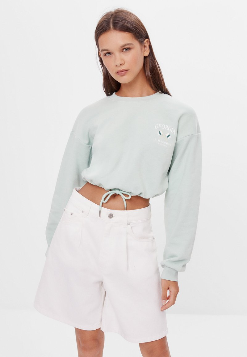 Bershka - MIT SCHLEIFEN - Sweatshirt - turquoise