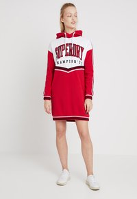 Superdry - COLLEGE HOODED DRESS - Day dress - burnt red/ice marl - 1