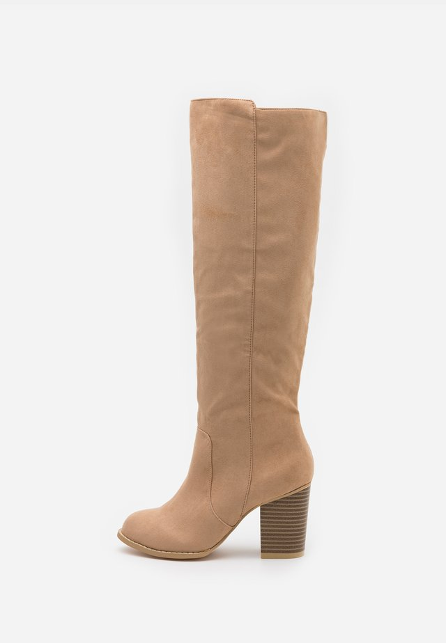 BLOCK KNEE HIGH BOOT - Bottes - beige